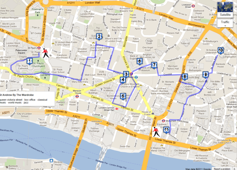 City of London Walk - sightseeing for tourists and visitors Walking Map on